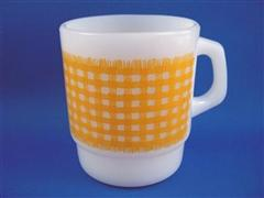 Gingham Cereal Mug Yellow