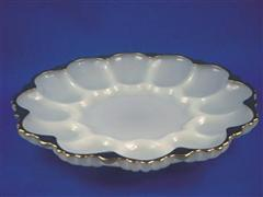 Egg Plate White with Gold rim
