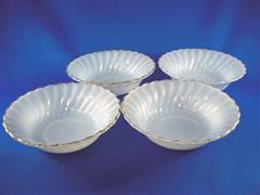 Shell Salad Bowl White&Gold Set of 4