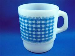 Gingham Mug  Light Blue