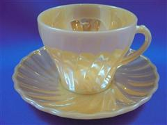 Peach Lustre Shell Cup & Saucer