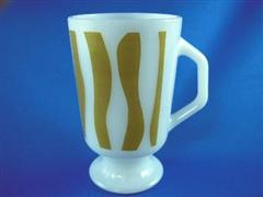 Footed Mug Curved Stripe Olive
