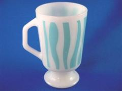 Footed Mug Curved Stripe Blue