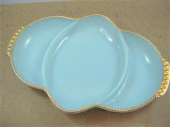 Relish Tray Turquoise Blue Goldrim
