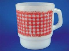 Gingham Cereal Mug  Red