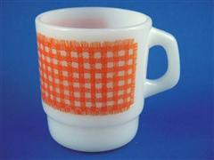 Gingham Cereal Mug  Orange