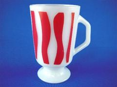 Footed Mug Curved Stripe Red